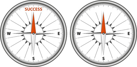 magnetic clip: direction to success - concept with compass