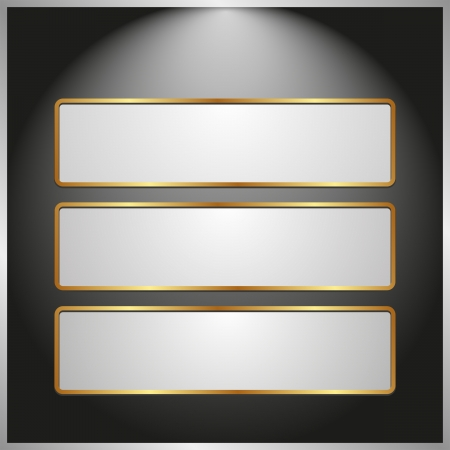 black panel with three light banners Vector