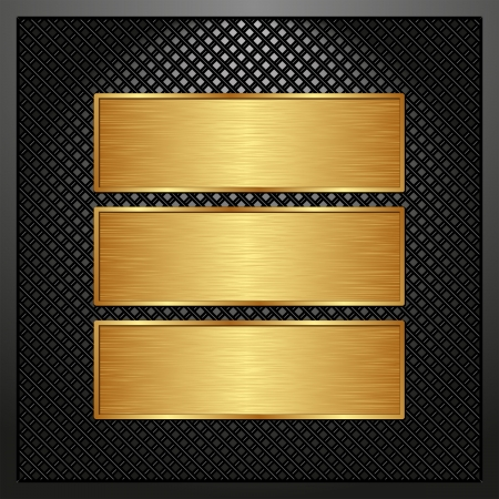 three golden banners on black panel Vector