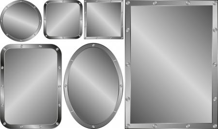metallic banners: set of metallic banners or with border of screws Illustration