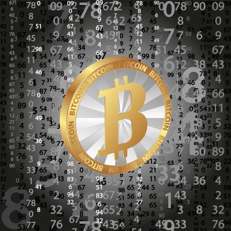 gold mining: coin bitcoin on digital  Illustration