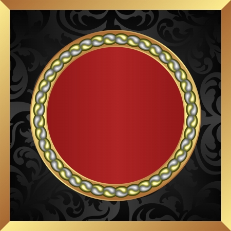 black red with gold frame Vector