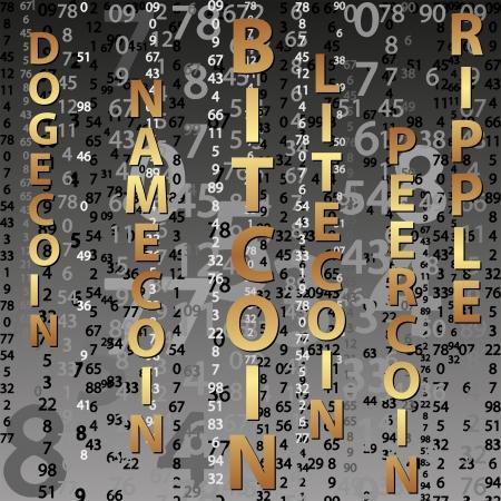 digital witn names of cryptocurrency