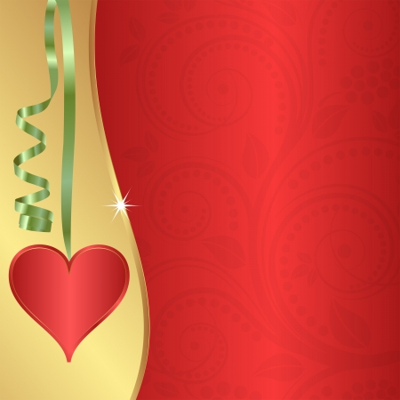 red heart hanging on a ribbon Vector