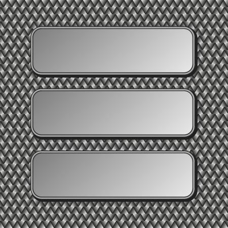three metallic banners on dark  Vector