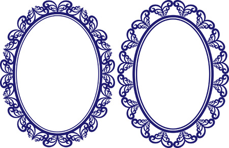 set of two vintage oval frames with decorative border