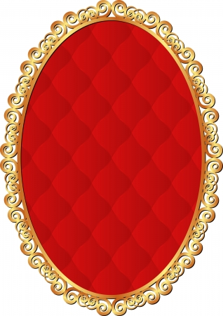 golden frame with red pattern inside