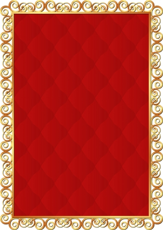golden frame with red pattern inside Vector