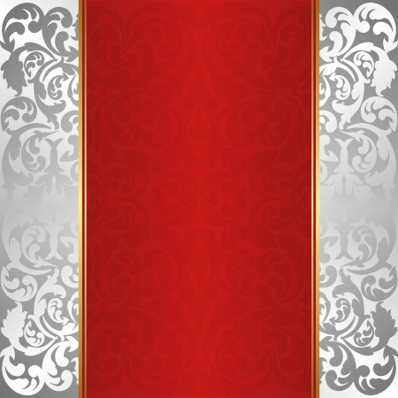 silver and red background with ornaments