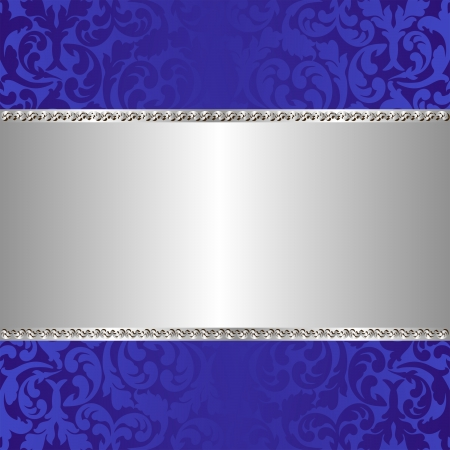 blue and silver background with ornaments