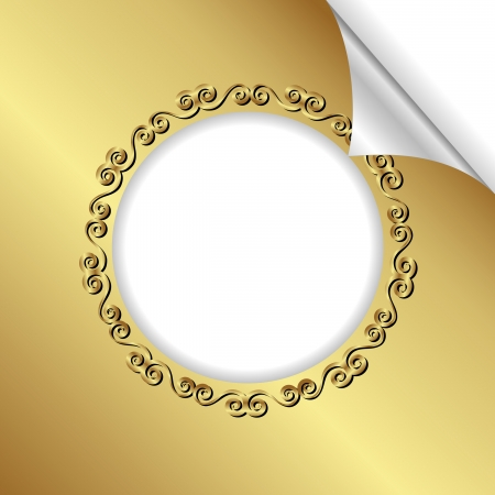 bent: golden background with round frame and bent corner