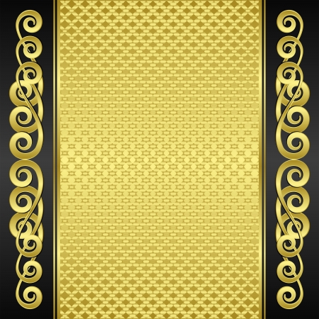 brushed gold: gold and black textured background with ornaments Illustration
