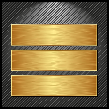 three golden banners on striped black background Vector