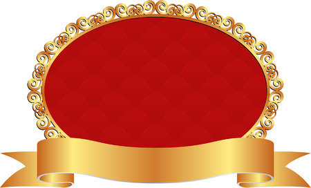 red background with golden ribbon Vector