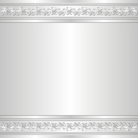 silver frame: shine background with ornaments Illustration