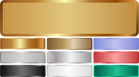 metallic banners: set of isolated metallic banners with grid texture