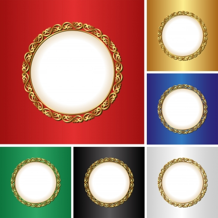 set of backgrounds with golden frame Vector