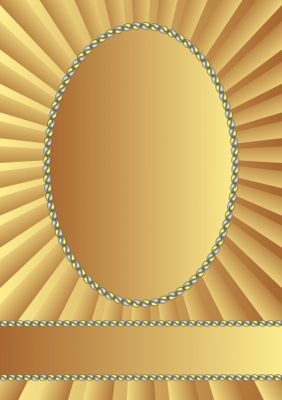 golden background with oval frame Vector