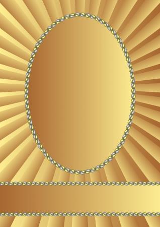 golden background with oval frame Illustration