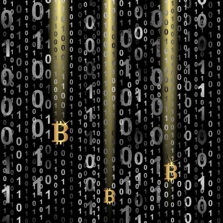 symbol of bitcoin on digital background Illustration