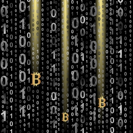 symbol of bitcoin on digital background Ilustracja