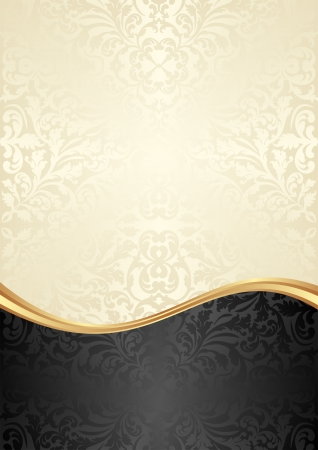 oro e sfondo nero con ornamenti astratti