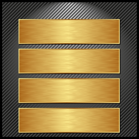four golden banners on striped black background Vector