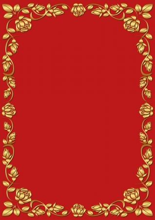 red rose border: red background with golden rose frame
