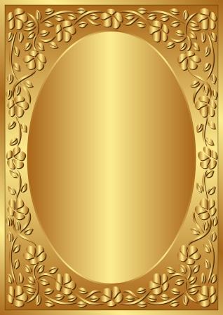 golden background with floral frame