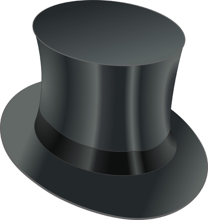 chimney pot: isolated black top hat Illustration