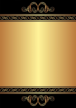 gold and black background with ornaments Illustration