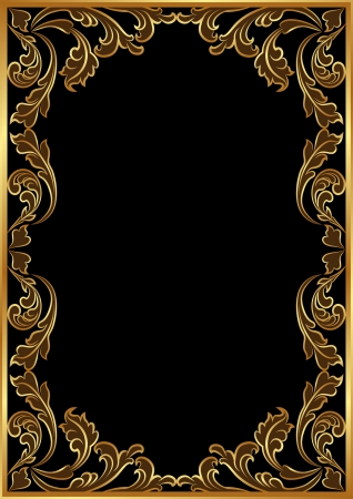 golden frame: black background with golden ornaments