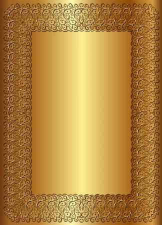 reflective background: golden background with vintage frame
