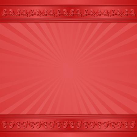 cenefas decorativas: rojo con bordes decorativos Vectores