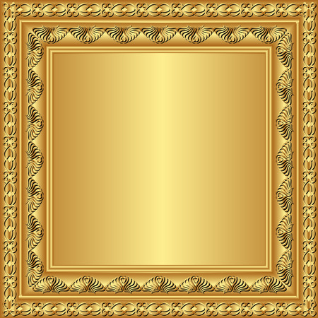 golden frame with ornaments Vector