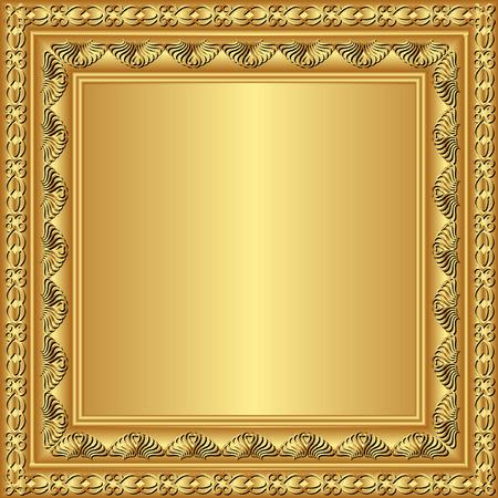 quadratic: marco dorado con adornos Vectores