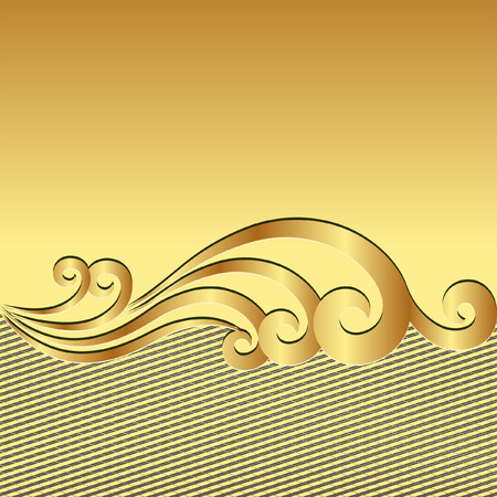 gold textured background with ornament Illustration