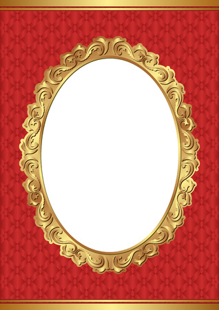 red background with golden frame and transparent space insert for picture Illustration