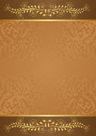 brown background with gold floral elements