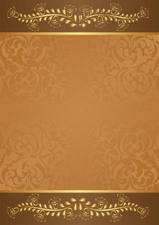 fond brun: fond brun avec des �l�ments floraux or