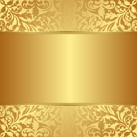 gold background with floral ornaments Vector