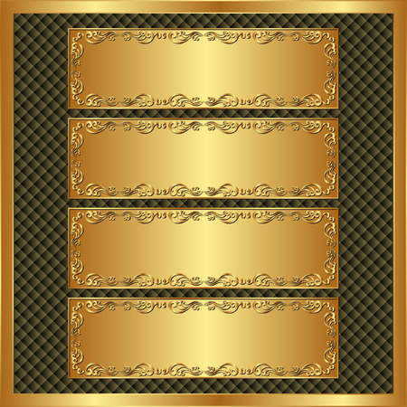 gold plaque: four long banners on brown textured background  Illustration