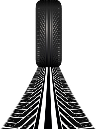 tire and tire track Vector
