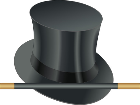 chimney pot: props of illusionist, hat and magic wand