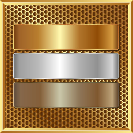 golden panel with three banners Vector