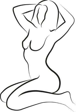 sketch of naked woman sitting Illustration