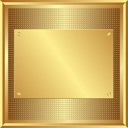 golden panel on grid texture Vector