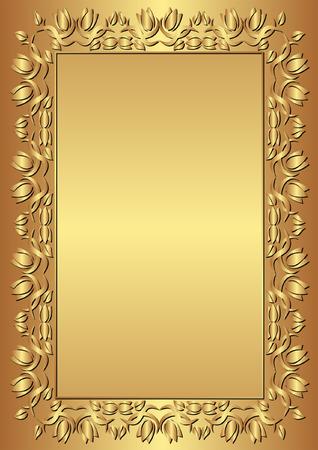 brushed gold: gold background with floral frame Illustration
