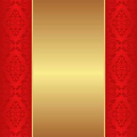 shone: golden background with red ornaments Illustration
