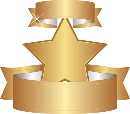 star clipart: isolated golden star with ribbons